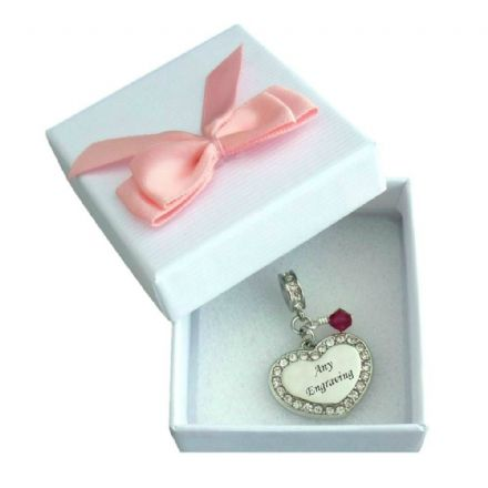 Birthstone Memorial Charm Personalised with Engraving